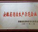 安徽省清洁生产示范企业